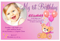 10 Personalised Girls Teddy Birthday Party Photo Invitations with First Birthday Invitation Card Template