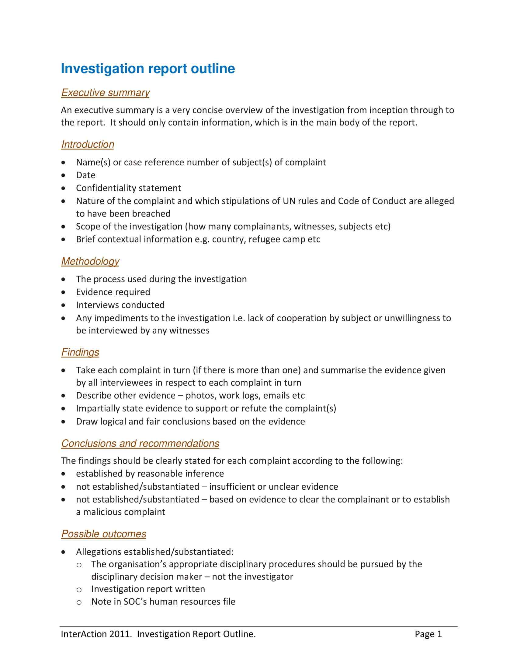 10+ Workplace Investigation Report Examples - Pdf | Examples For Hr Investigation Report Template