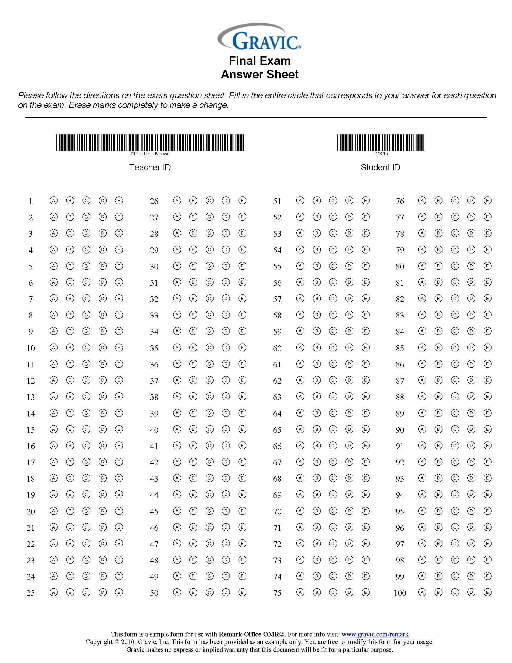 100 Question Test Answer Sheet With Barcode · Remark Software Within Test Template For Word