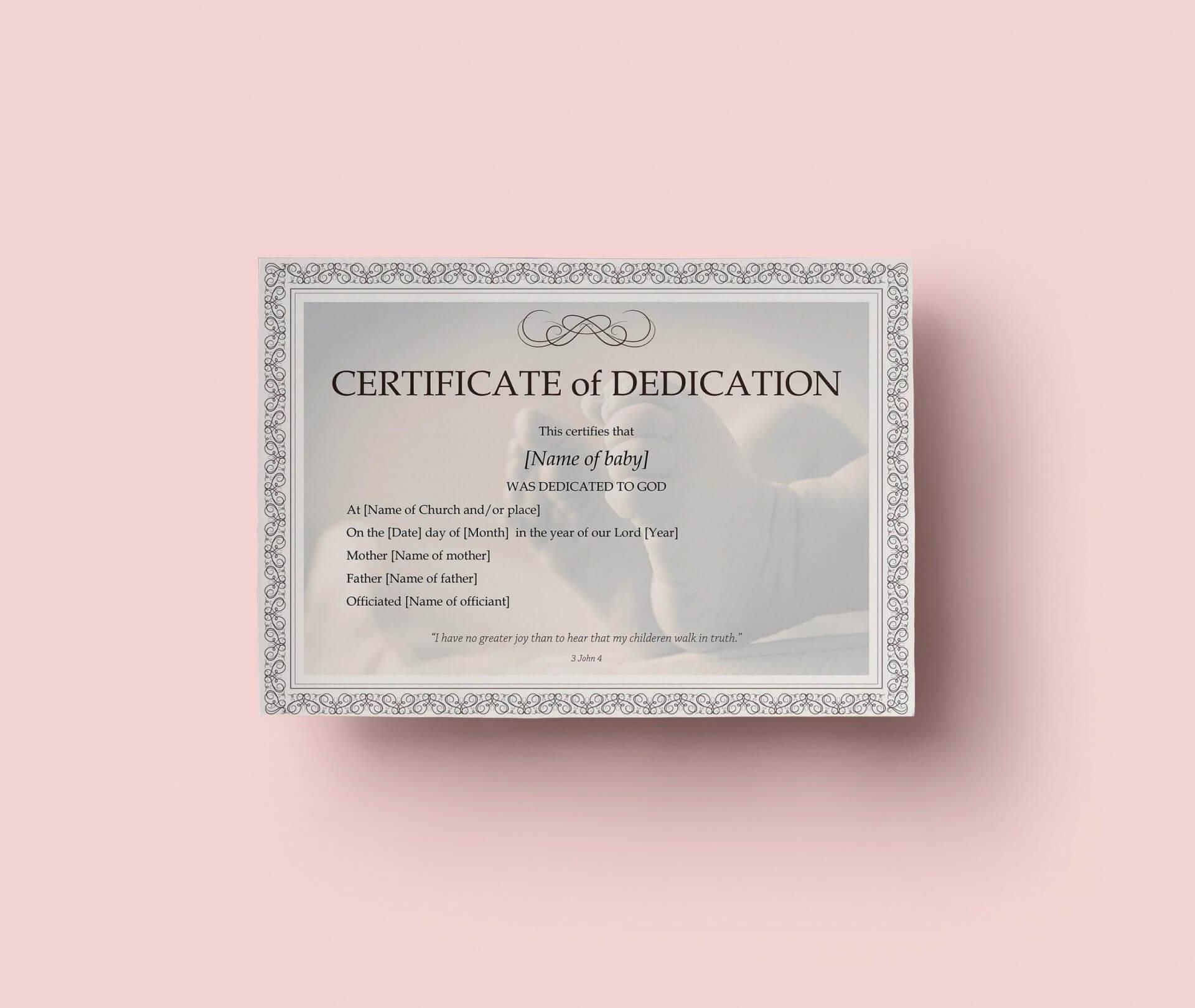 10E2D7 Baby Dedication Certificates C Template Business With Regard To Baby Dedication Certificate Template