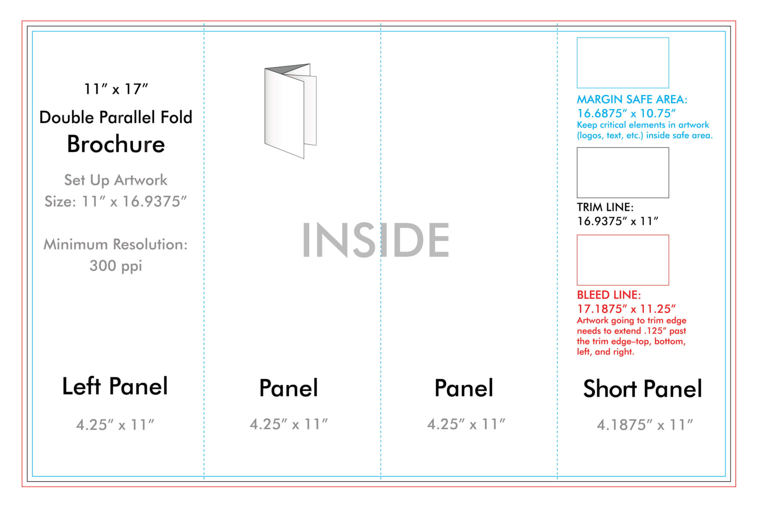 """11"""" X 17"""" Double Parallel Brochure Template - U.s. Press Intended For 11X17 Brochure Template"""