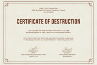 12 Certificate Of Destruction Template | Resume Letter pertaining to Destruction Certificate Template