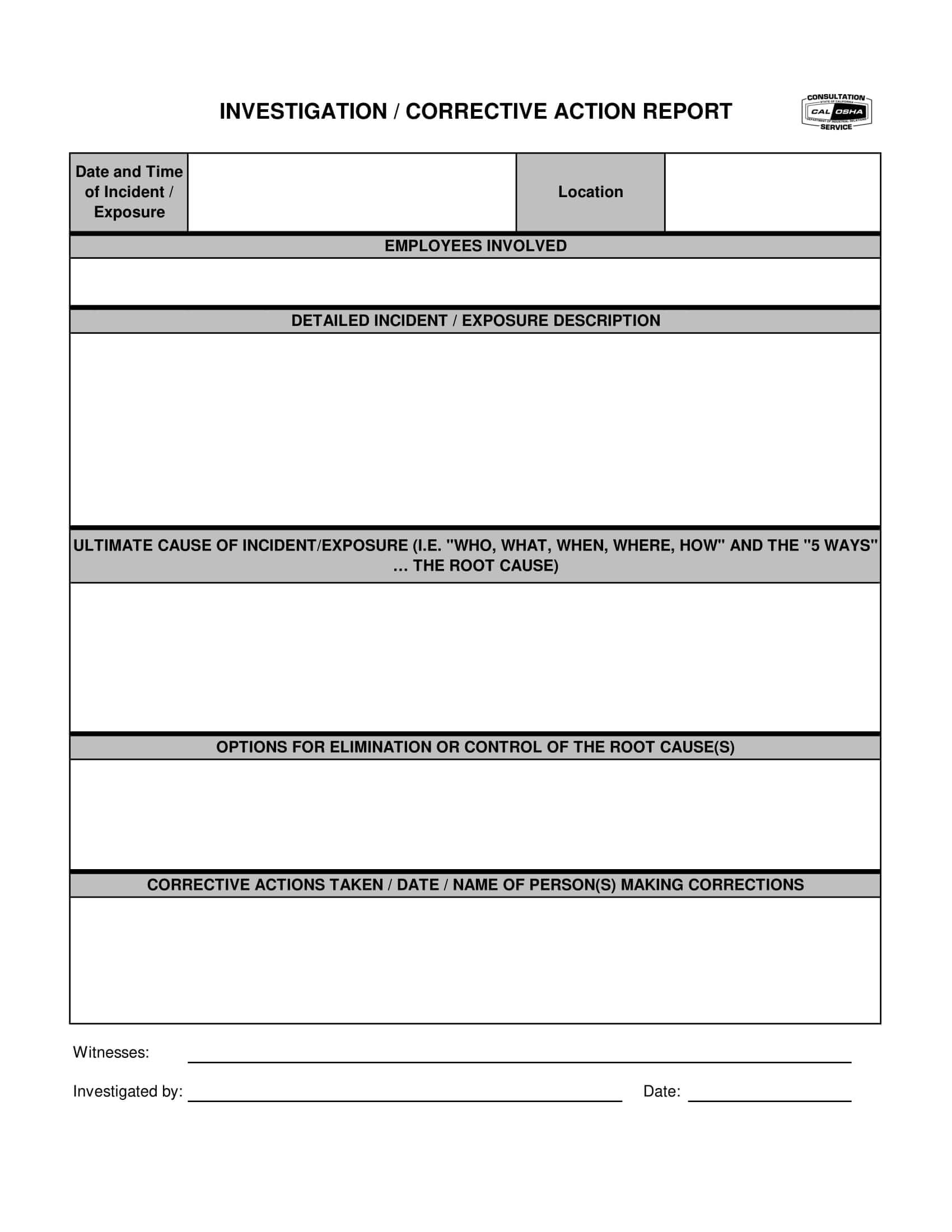 12+ Corrective Action Report Examples - Pdf | Examples Regarding Corrective Action Report Template