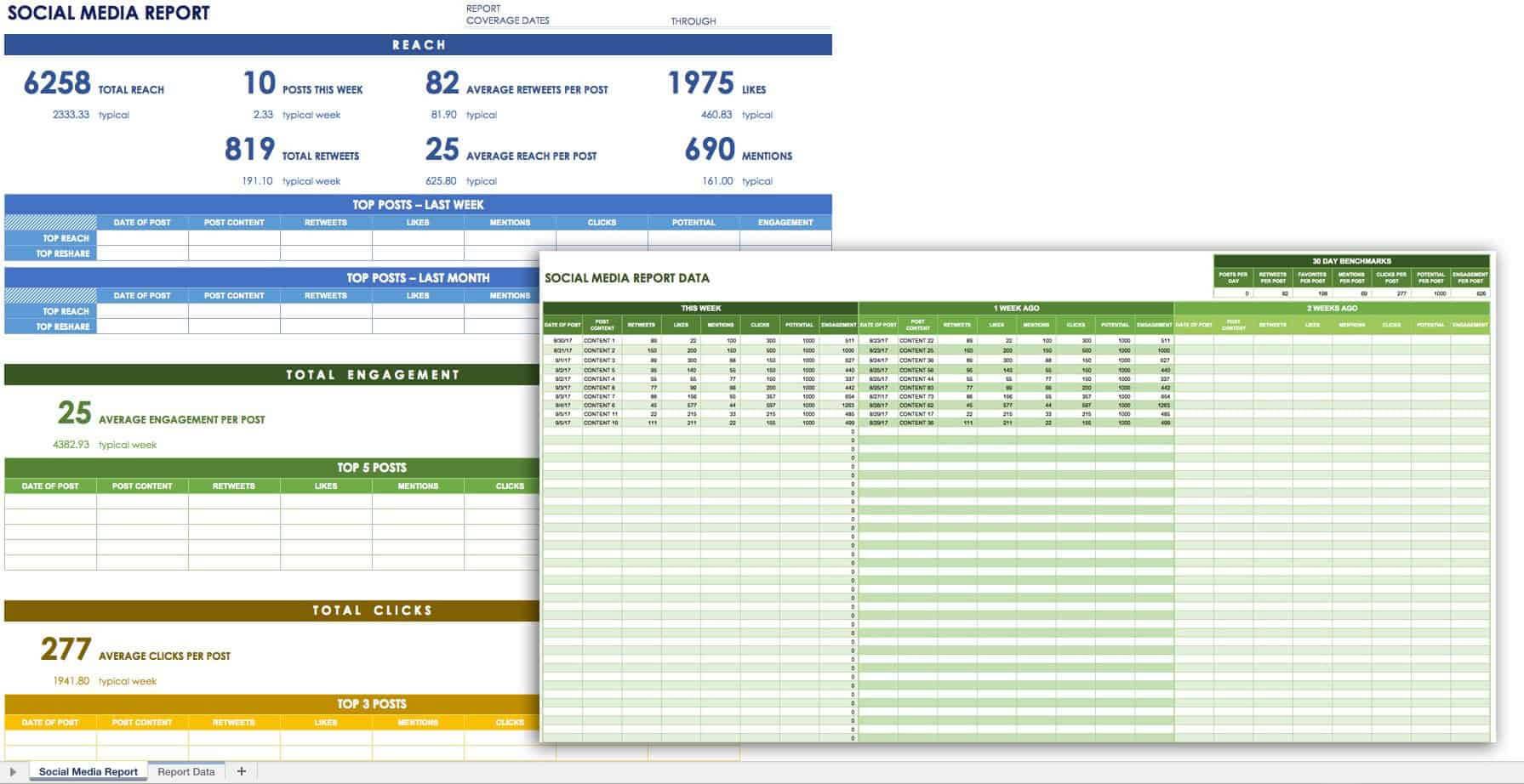 12 Free Social Media Templates   Smartsheet Throughout Social Media Marketing Report Template
