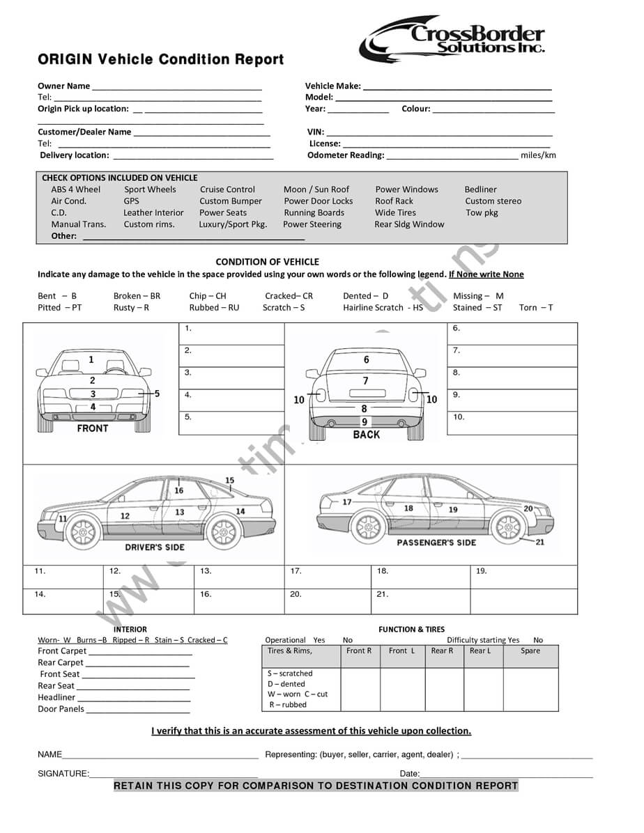 12+ Vehicle Condition Report Templates - Word Excel Samples Regarding Truck Condition Report Template