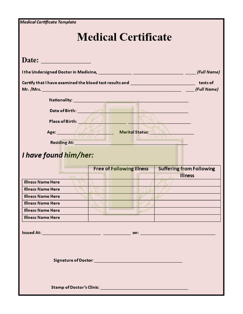15+ Medical Certificate Templates For Sick Leave - Pdf, Docs Inside Free Fake Medical Certificate Template