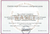 18Th International Conference On Education, Learning And inside Conference Certificate Of Attendance Template
