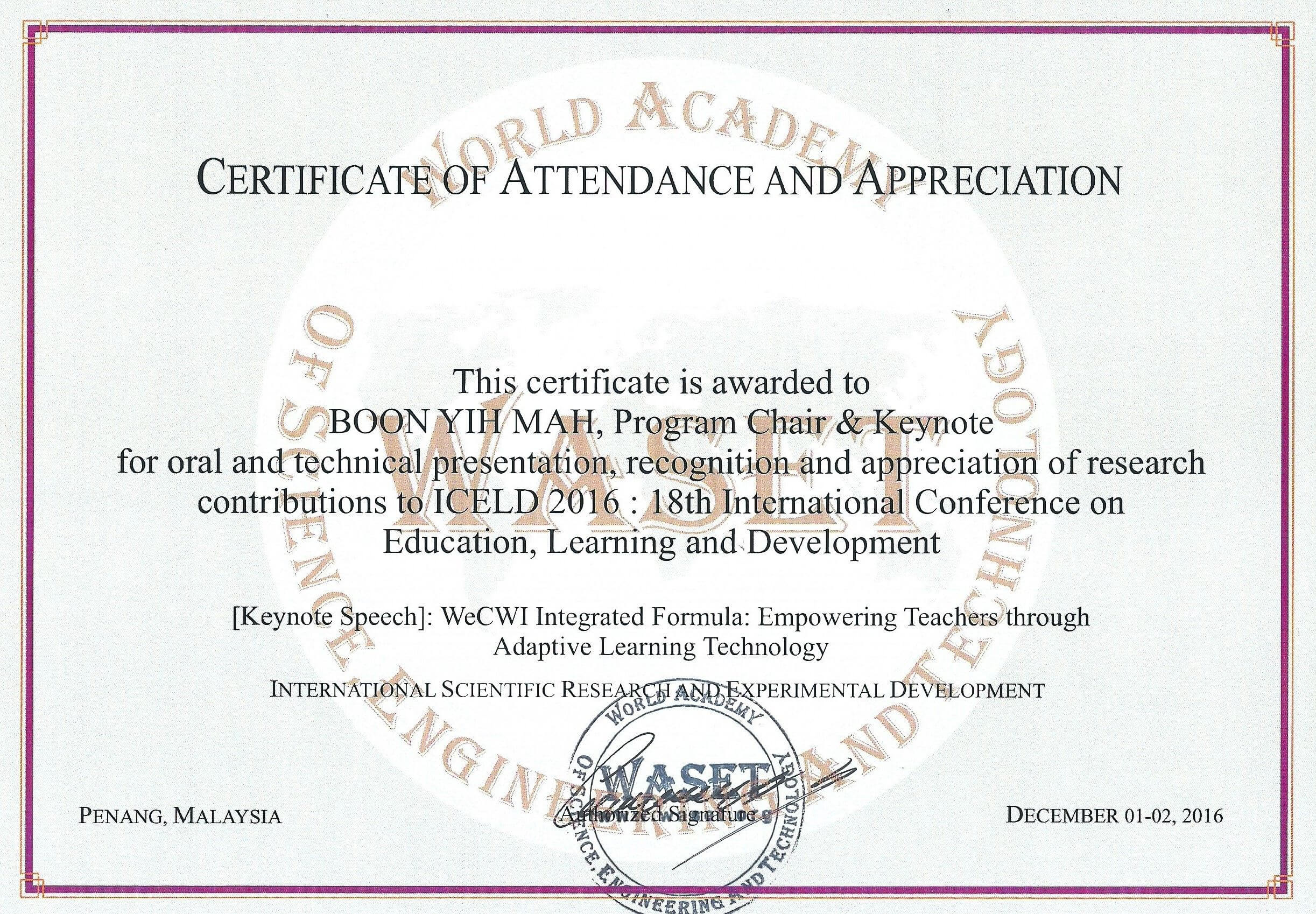 18Th International Conference On Education, Learning And Pertaining To Certificate Of Attendance Conference Template