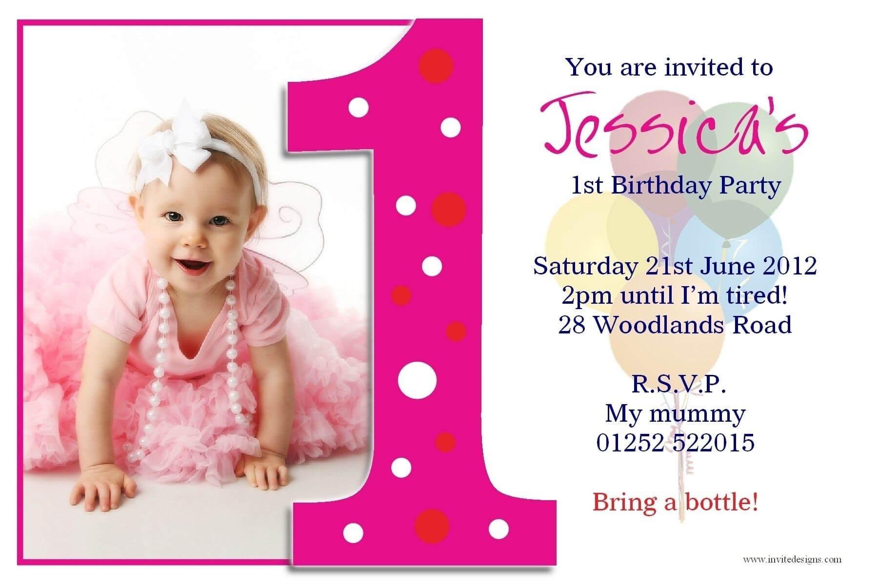 1St Birthday Invitation Card Template Free Download Throughout First Birthday Invitation Card Template