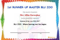 1St Runner-Up Master Blu Zoo – Student Of The Year 2016-2017 with regard to Running Certificates Templates Free