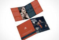 2 Panel Square Bi-Fold Brochure Front & Back Psd Mockup in 2 Fold Brochure Template Psd
