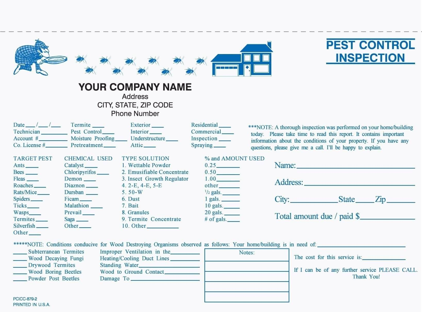 2 Part Pest Control Inspection Form, Carbonless | Pest Intended For Pest Control Report Template