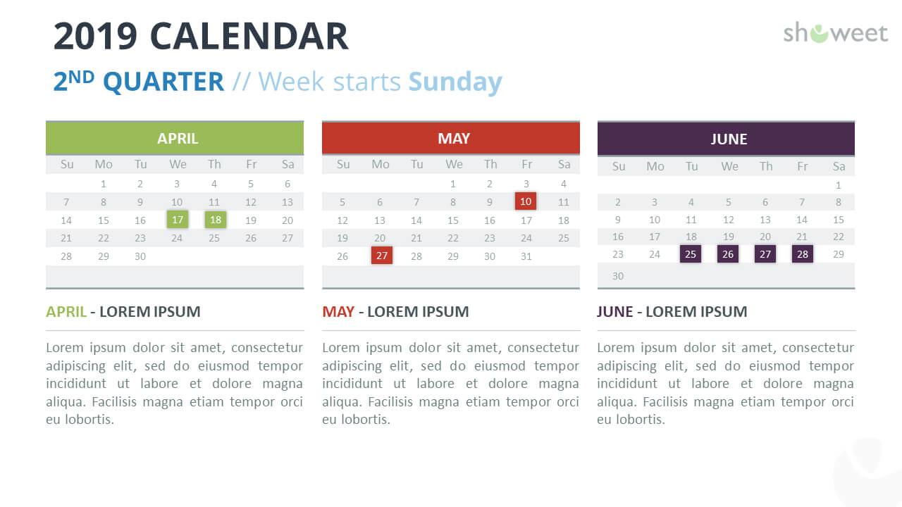 2019 Calendar Powerpoint Templates With Microsoft Powerpoint Calendar Template