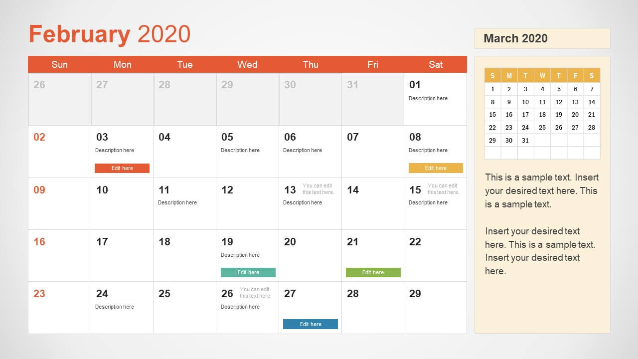2020 Calendar Powerpoint Template With Regard To Microsoft Powerpoint Calendar Template