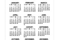 2020 Printable One Page Year At A Glance Calendar – Paper for Month At A Glance Blank Calendar Template
