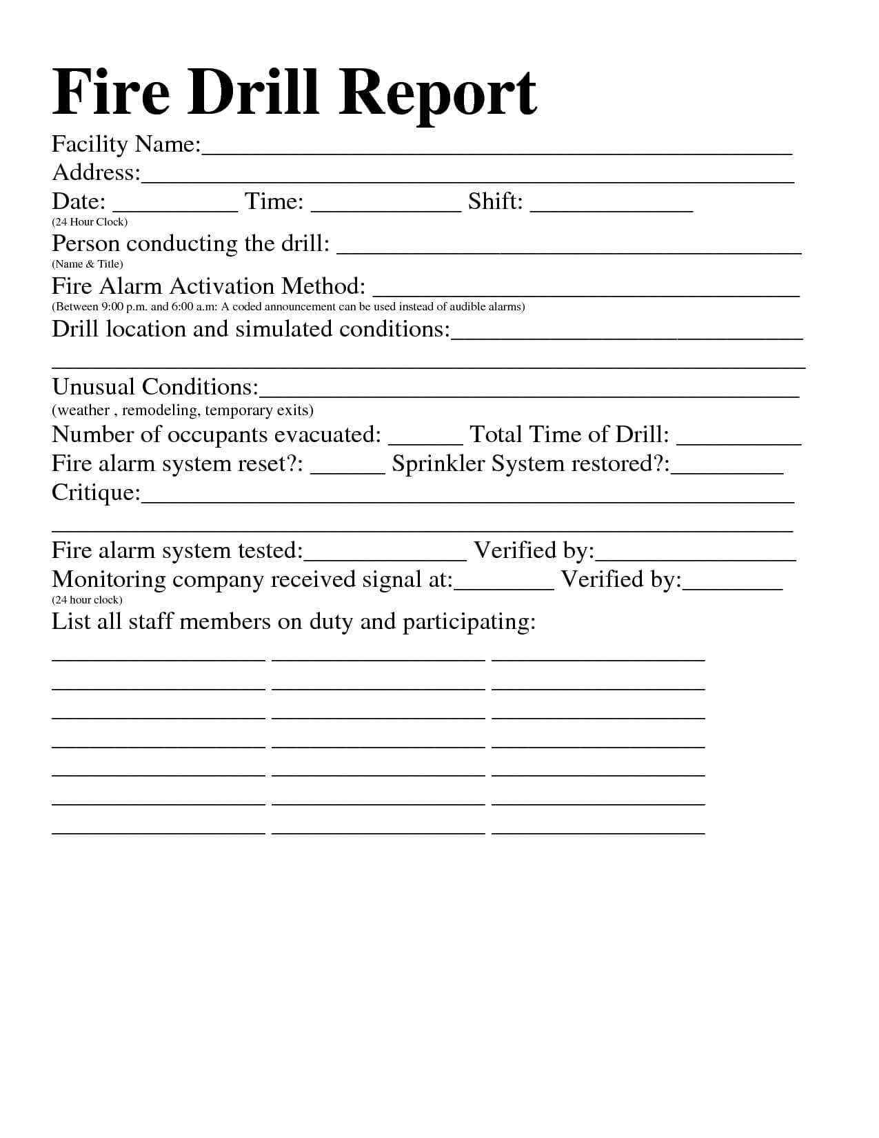 22 Images Of Osha Fire Drill Safety Template | Jackmonster With Regard To Emergency Drill Report Template