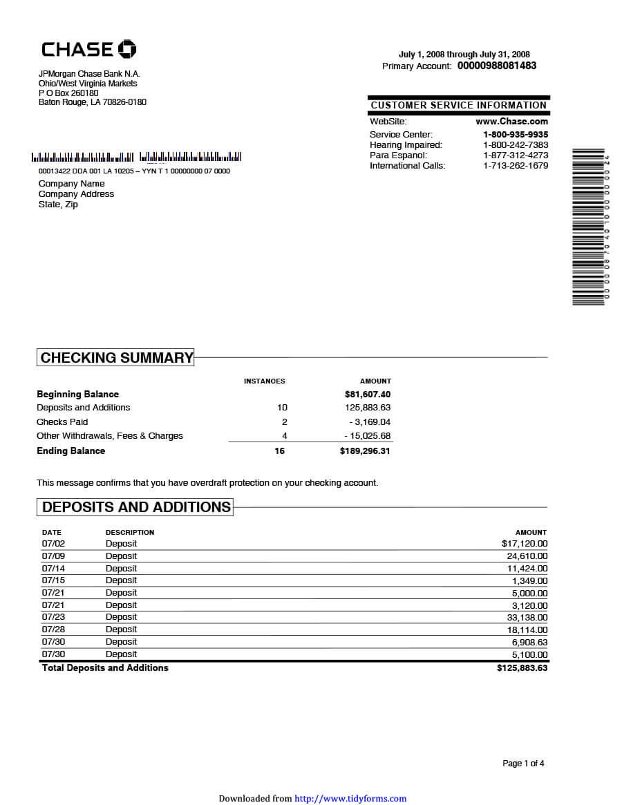 23 Editable Bank Statement Templates [Free] ᐅ Template Lab Intended For Blank Bank Statement Template Download