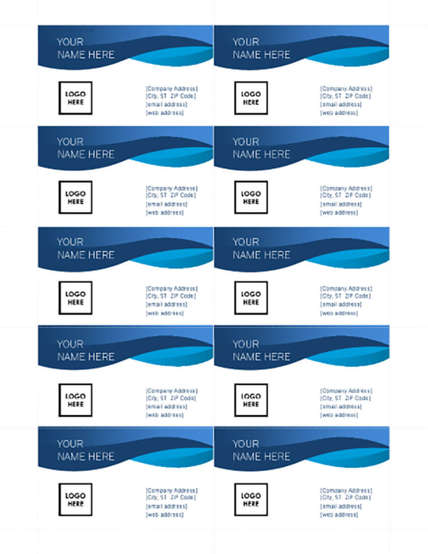 25+ Free Microsoft Word Business Card Templates (Printable In Ms Word Business Card Template
