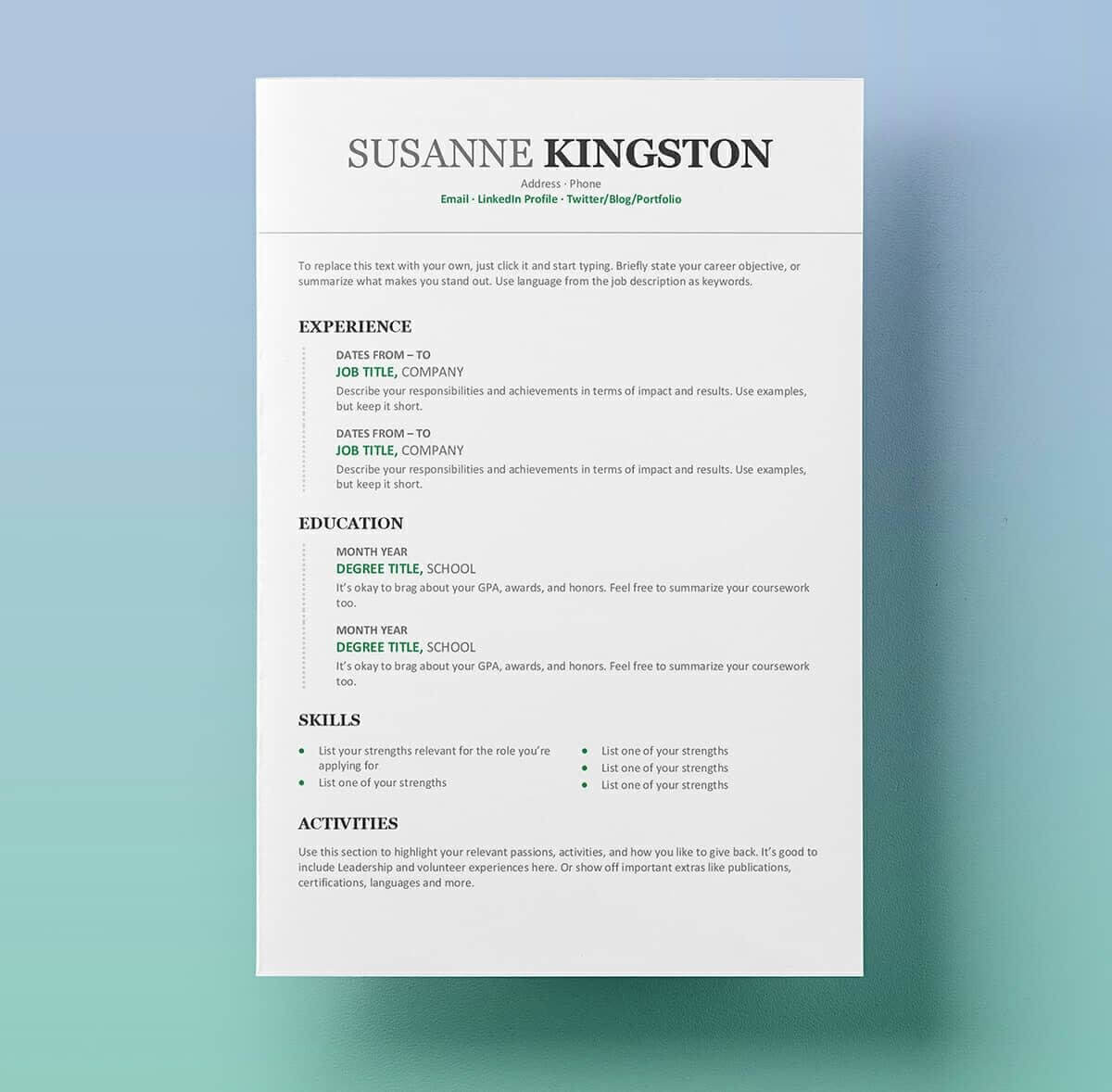25 Resume Templates For Microsoft Word [Free Download] Intended For How To Get A Resume Template On Word