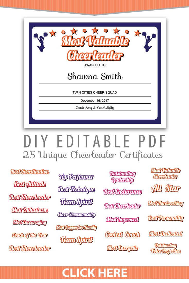 25 Unique Cheerleader Certificates Editable Pdf Sports Team With Regard To Superlative Certificate Template