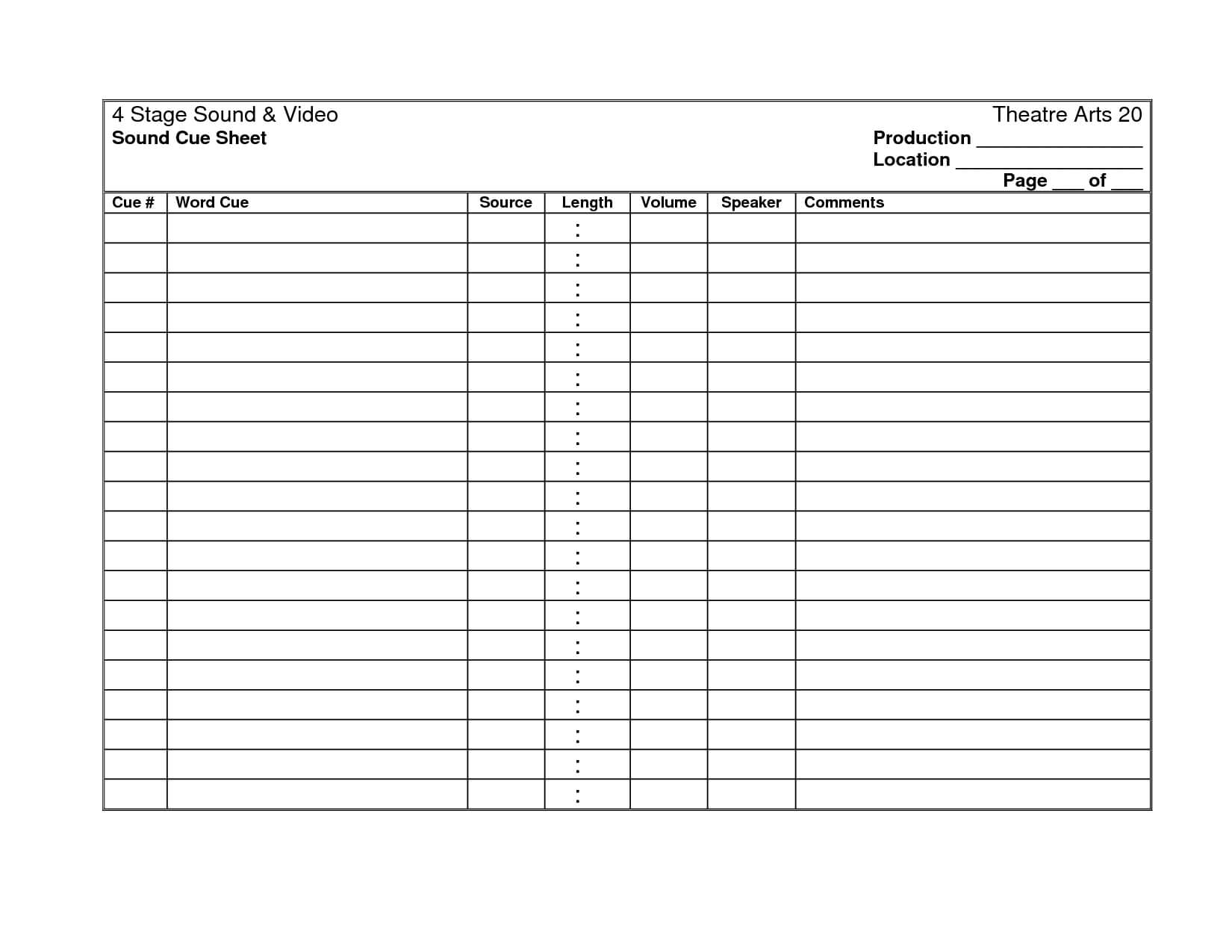 27 Images Of Cooks Production Sheet Template | Masorler With Sound Report Template