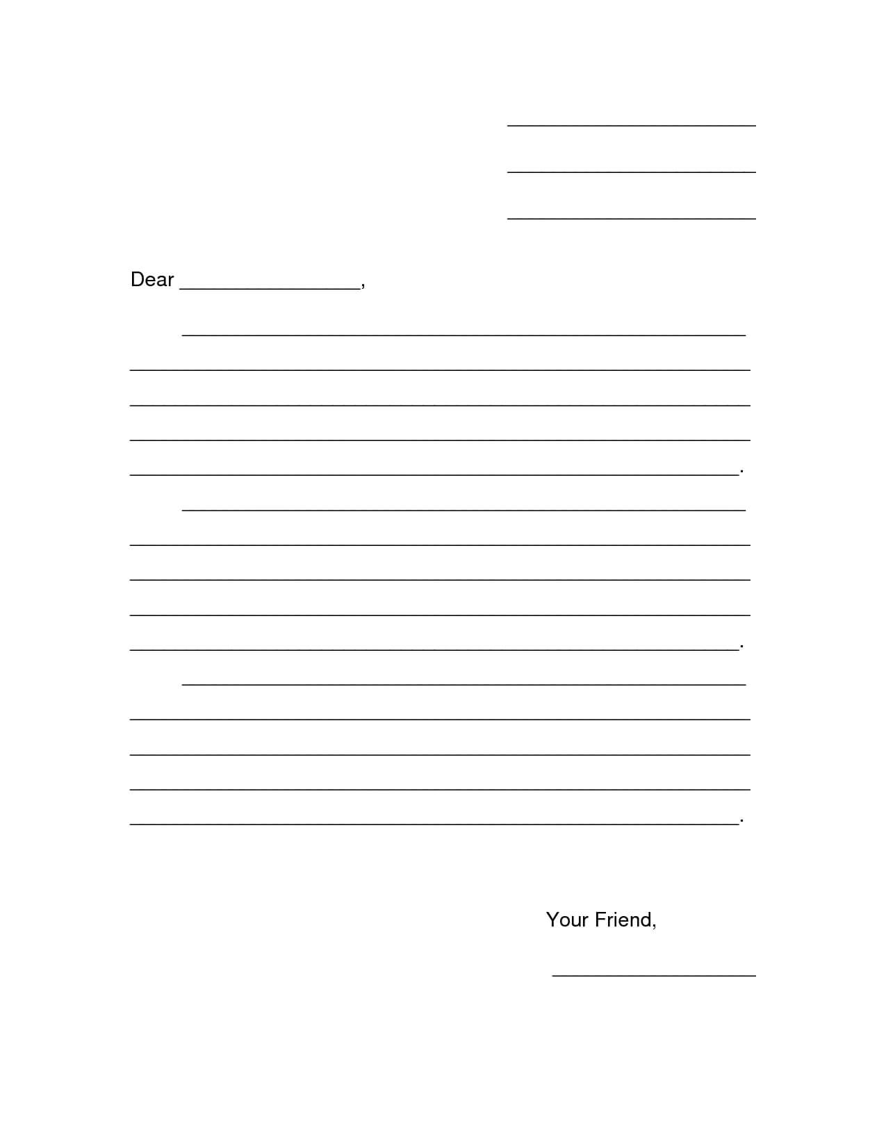 28+ [ Free Printable Friendly Letter Template ] | Friendly Throughout Blank Letter Writing Template For Kids
