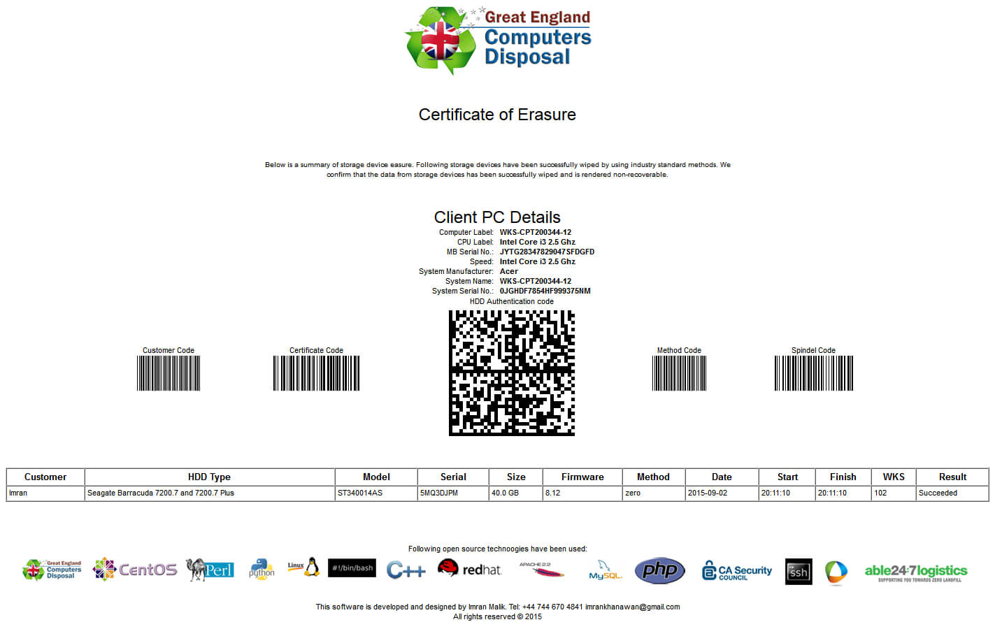 28+ [ Hard Drive Destruction Certificate Template ] | Data Intended For Hard Drive Destruction Certificate Template