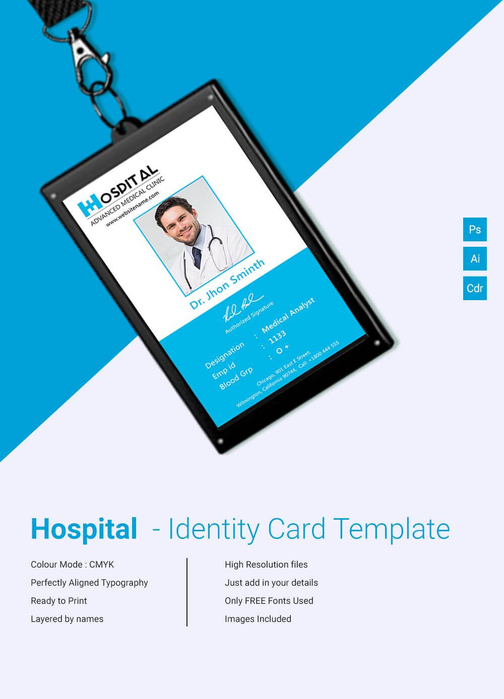 29+ Id Card Templates - Psd   Id Card Template, Employee Id Throughout Hospital Id Card Template