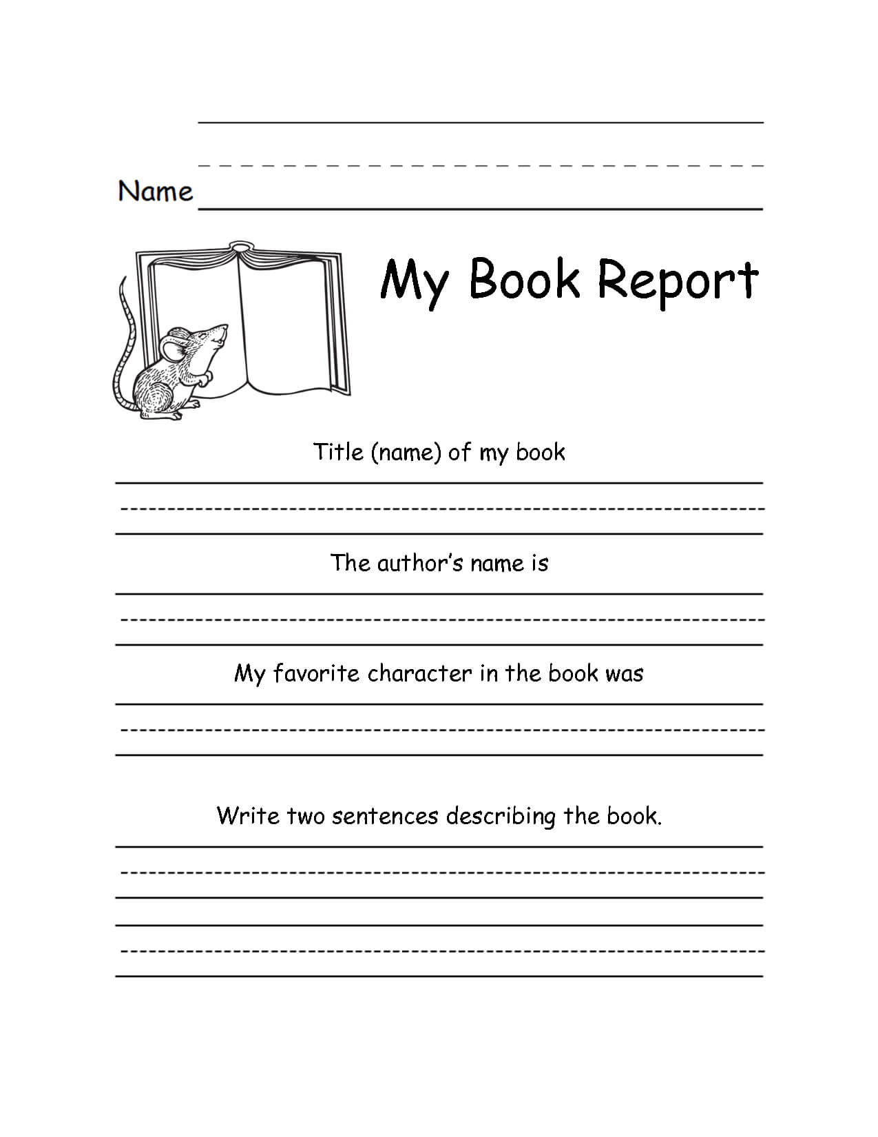 2Nd Grade Writing Worksheets | Book Report Templates, 2Nd Inside Book Report Template 2Nd Grade