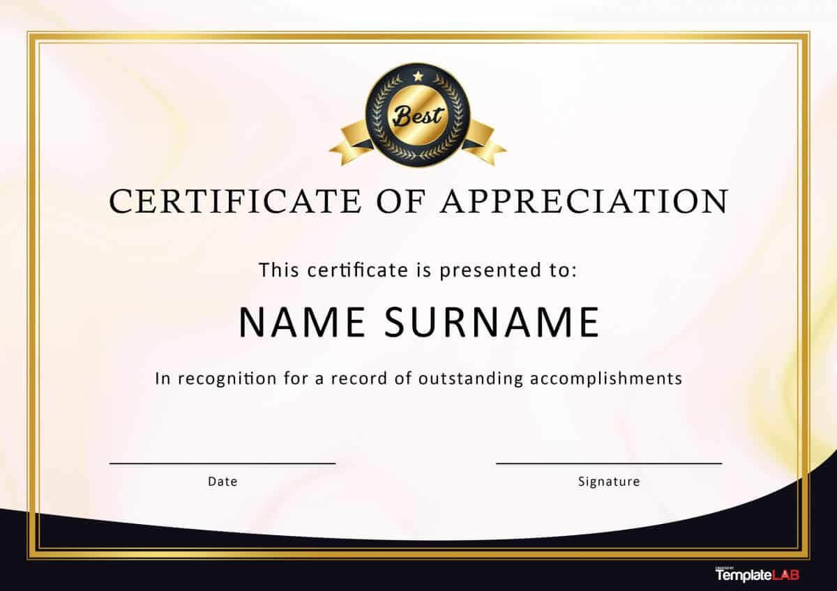 30 Free Certificate Of Appreciation Templates And Letters Inside Blank Award Certificate Templates Word