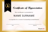 30 Free Certificate Of Appreciation Templates And Letters inside Certificate Of Excellence Template Word
