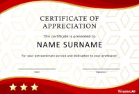 30 Free Certificate Of Appreciation Templates And Letters inside Certificate Of Service Template Free
