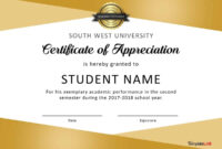 30 Free Certificate Of Appreciation Templates And Letters inside Felicitation Certificate Template