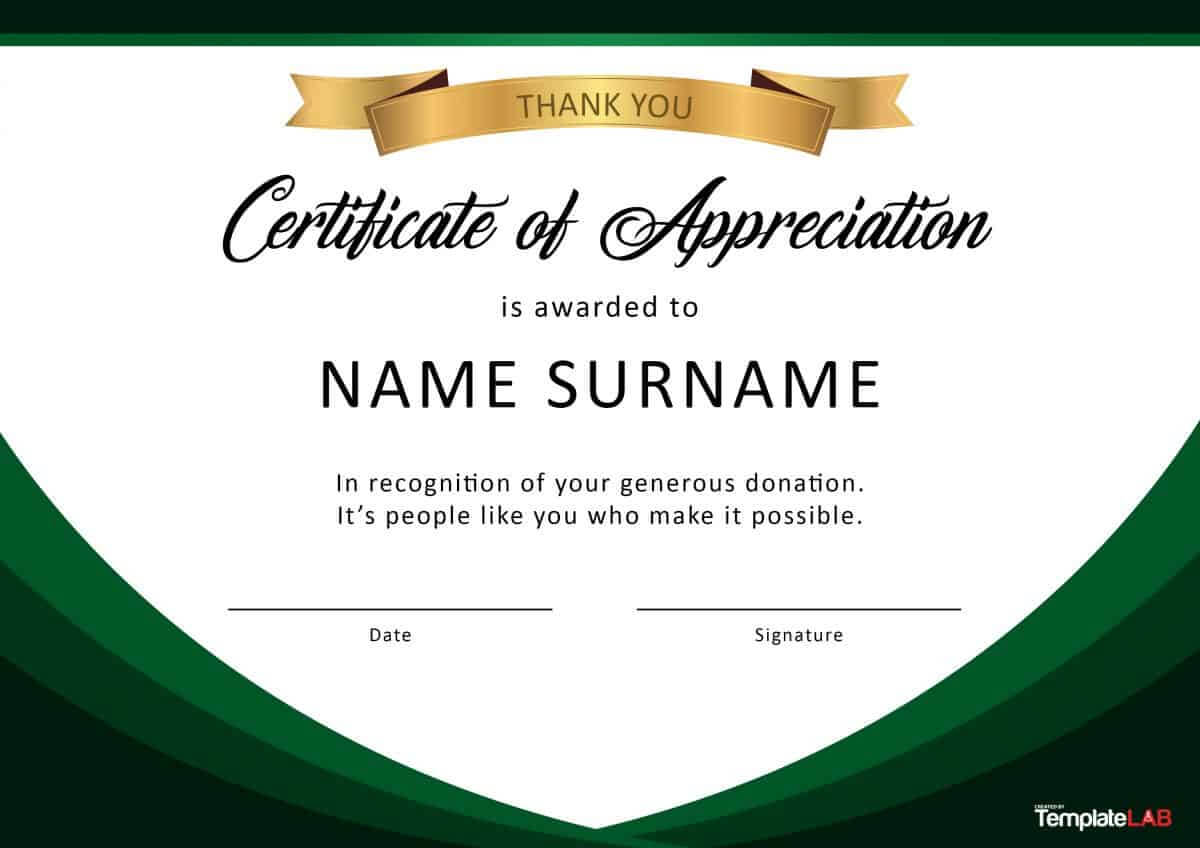 30 Free Certificate Of Appreciation Templates And Letters Intended For Template For Certificate Of Award