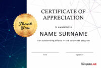 30 Free Certificate Of Appreciation Templates And Letters regarding Volunteer Of The Year Certificate Template