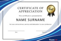 30 Free Certificate Of Appreciation Templates And Letters throughout Certificate Of Excellence Template Word