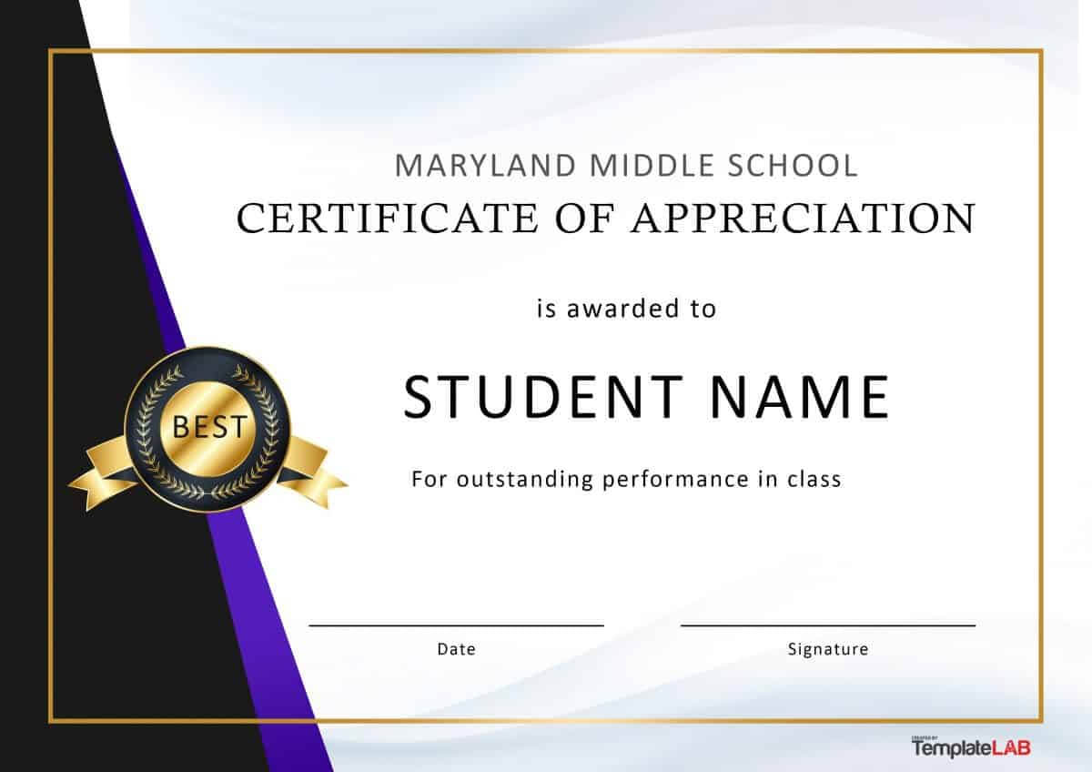 30 Free Certificate Of Appreciation Templates And Letters With Best Performance Certificate Template