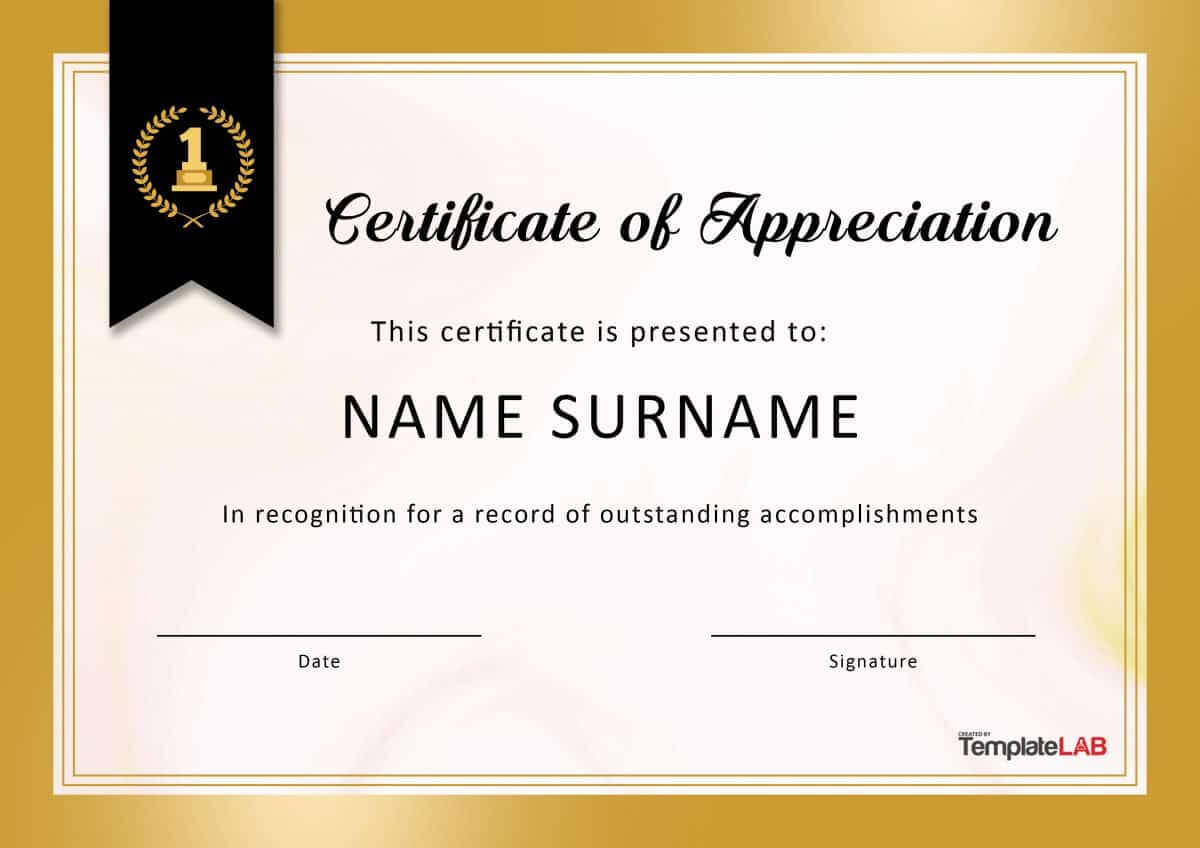 30 Free Certificate Of Appreciation Templates And Letters With Regard To Certificate Of Appreciation Template Doc
