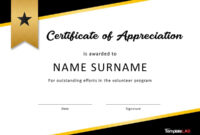 30 Free Certificate Of Appreciation Templates And Letters with regard to Volunteer Certificate Template