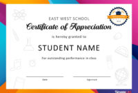 30 Free Certificate Of Appreciation Templates And Letters within Free Student Certificate Templates