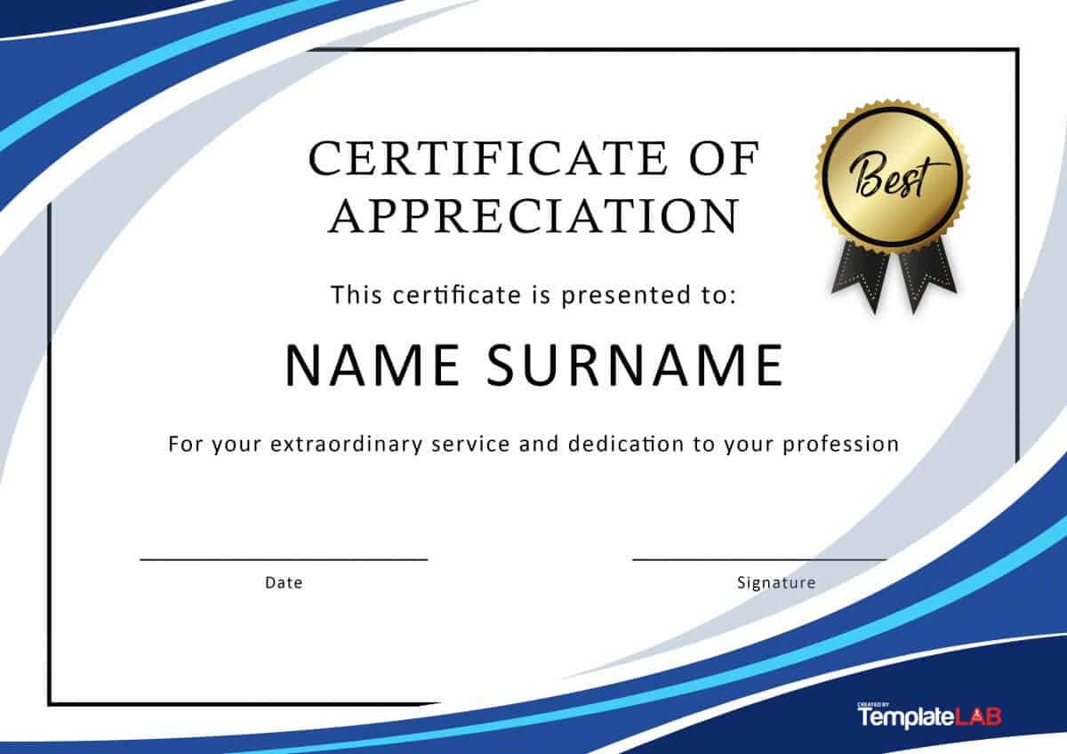 30 Free Certificate Of Appreciation Templates And Letters Within Free Template For Certificate Of Recognition