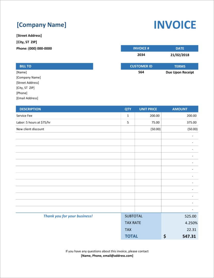 32 Free Invoice Templates In Microsoft Excel And Docx Within Microsoft Office Word Invoice Template