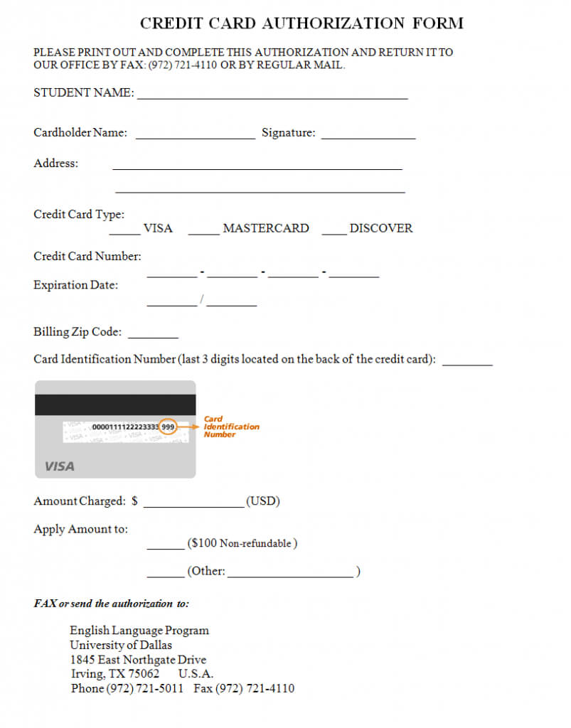 33+ Credit Card Authorization Form Template | Templates Study With Credit Card Authorisation Form Template Australia