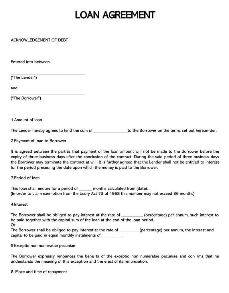 38 Free Loan Agreement Templates & Forms (Word, Pdf) Regarding Blank Loan Agreement Template