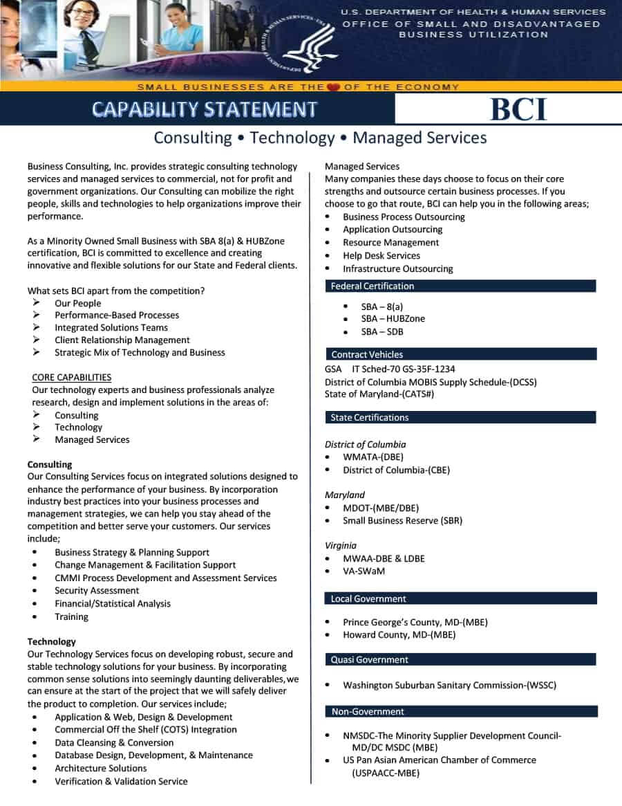 39 Effective Capability Statement Templates (+ Examples) ᐅ Inside Capability Statement Template Word