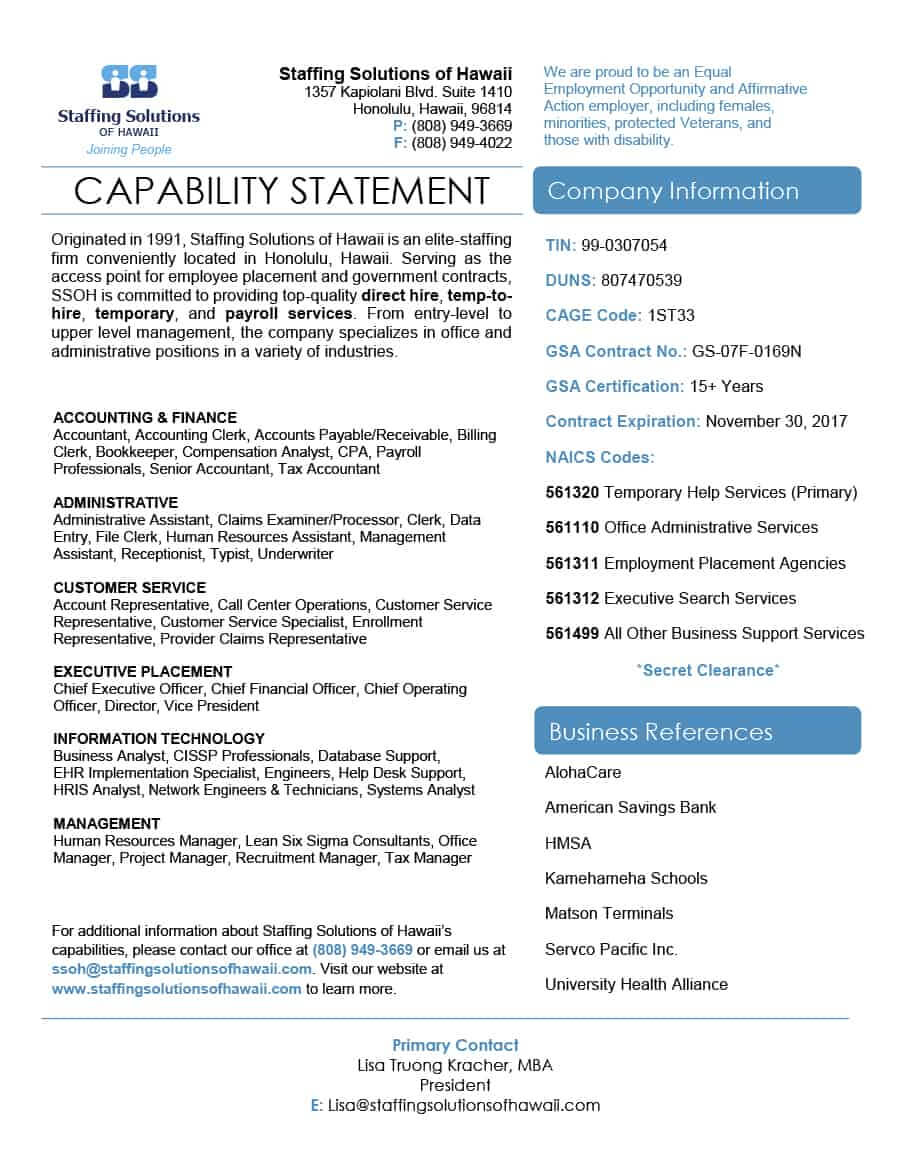 39 Effective Capability Statement Templates (+ Examples) ᐅ With Regard To Capability Statement Template Word
