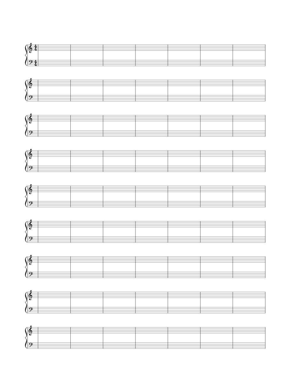 4/4 Time Signature Double Bar Blank Sheet Music | Woo! Jr Intended For Blank Sheet Music Template For Word