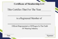 4+ Free Sample Certificate Of Membership Templates inside Llc Membership Certificate Template