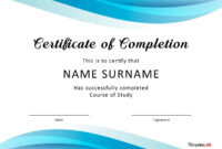 40 Fantastic Certificate Of Completion Templates [Word in Free Completion Certificate Templates For Word