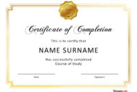 40 Fantastic Certificate Of Completion Templates [Word in Sample Certificate Of Participation Template